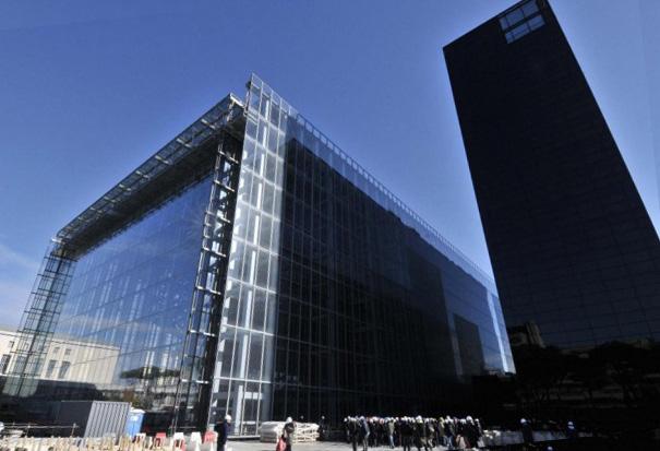 Nuvola di Fuksas, sopralluogo del sindaco Ignazio Marino al cantiere del nuovo Centro congressi