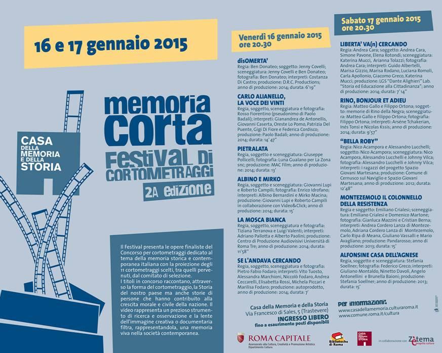 Festival della memoria corta 2015 2a ed rome central for 2 piani di casa contemporanea di storia