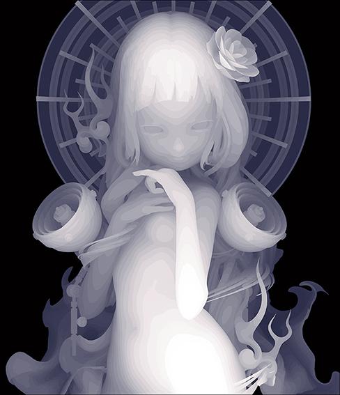 Kazuki Takamatsu_Shall I save you?_53 x 45.5cm_acrylic, acrylic gouache, medium, gesso, giclee on tarpaulin_dorothycircusgallery