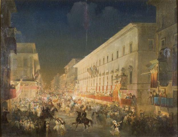 Caffi, Ippolito, La festa dei moccoletti (Il Carnevale a Roma), 1852