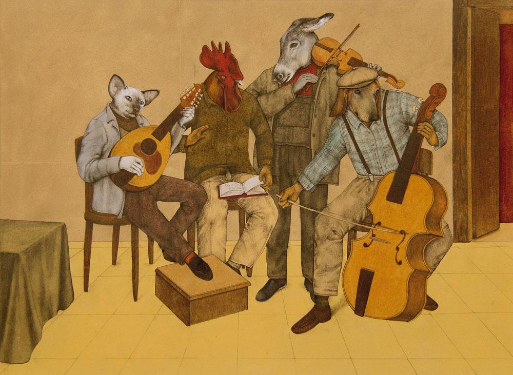 Un asino, un cane, un gatto e un gallo, vissuti in quattro diverse fattorie, vengono trattati male e cacciati via dai loro padroni una volta invecchiati. Decidono allora di abbandonare il proprio territorio e scappano via, fino a quando si incontrano e decidono di andare insieme a Brema per vivere senza padroni e diventare musicisti nella banda della città.(Wikipedia)
