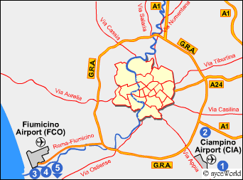 How to reach the Rome city center from the airport bus taxi or